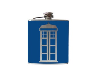 Tardis FLASK- whiskey medicine, Police Box- Personalized, Custom - YOU pick COLOR