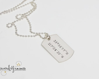 Personalized Mens Coordinates Necklace - Guys Jewelry - Dog Tag - Silver - Longitude Latitude - Location - Address - GPS - Couples