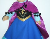 Frozen Princess Anna Vest Dress, Nordic Blouse and Full Cape - Made to Fit American Girl and 18 Inch Dolls 498