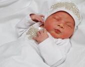 Infant Girls Newborn Baby Hospital Hat Beanie with rhinestone applique