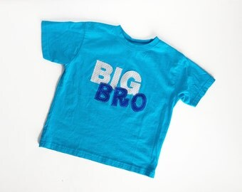 Big Brother Shirt - Aqua Turquoise with Grey, Royal Blue Letters, Little Brother Shirt