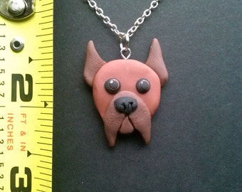 OOAK Brown Boxer Polymer Clay Pendant
