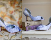 Lace wedding shoes peep toe low heel short heel high heels bridal shoes embellished with a floral ivory beaded lace trim
