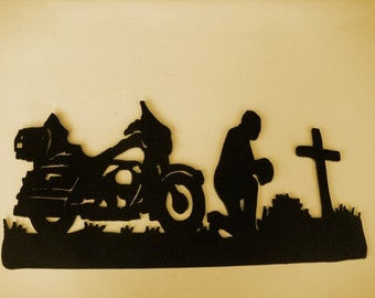 MotorCycle,Biker,Metal Art,Praying,Harley,Biker's Prayer