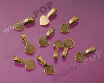 10 - Large Antique Bronze Bails, Glue On Flat Pad Bails, Heart Bails, 22mm x 11mm, 10mm Glue Pad (R6-178)