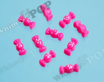 10 - OVERSTOCK SALE Teeny Tiny Hot Pink Kawaii Wrapped Candy Polka Dot Resin Cabochons, Candy Cabochons, 10mm x 4mm (6-2I)