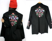 Vintage Victor Costa Black Floral Embroidered Button Up Jacket