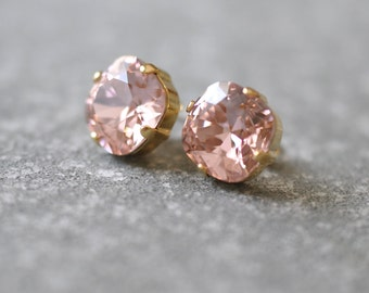 French Rose Pink Earrings Swarovski Crystal Ballet Pink Super Sparklers Square Stud Earrings Mashugana
