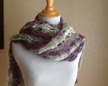 Crochet White Green Purple Lavender Lace Fashion Scarf or Shawl Free Shipping Coupon Code is HOLIDAY
