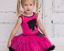 Girls Dress Hot Pink Silhouette Dress Petti Dress Girls Clothing Kids Baby Dresses Hot Pink Sizes 12months through Size 5