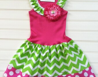 Custom Boutique Dress Chevron Dress Girls Dresses Hot Pink Lime Green Dress  Kids Tank Dress Available Sizes 0-3 Months through 6/8