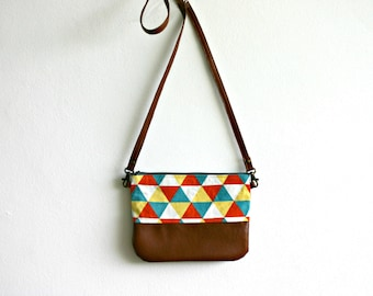 Geometry Colourful Bright bag Small purse Japanese linen Triangles