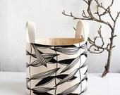 Fabric Basket, Black Bin, Organizer, Organic Cotton, Hand-printed, Flower basket,