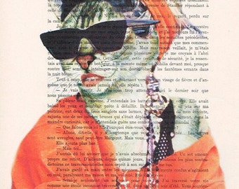 Madonna material girl Cat: Print Poster Illustration Acrylic Painting Animal Portrait Wall Decor Wall Hanging Wall Art Drawing Glicee
