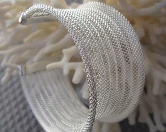 Corrugated Silver Wide Mesh Cuff Bracelet