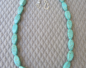 Light Turquoise Faceted  Oval Magnesite Necklace