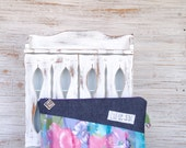 Sale! 30% off! Large eco friendly cosmetic pouch or iPad case, floral, pink fushia turquoise, denim, zipper, recycled upcycled fabrics