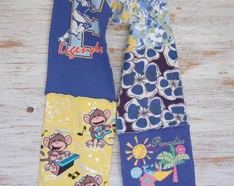 sale! 30% off! woman eco friendly jersey scarf,  royal blue yellow, monkey, summer, palm tree, flower, football