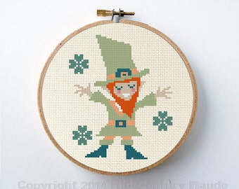 Leprechaun Irish Cross Stitch Pattern Instant Download PDF Digital Needlepoint