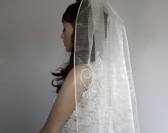 Waist Length Veil, Cream Embroidered Fine Tulle Blusher Unconventional Handmade Modern Boho Wedding Unique Design