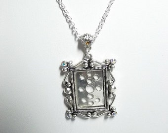 Ornate Silver Photo Frame Necklace,  Mom Sister Grandmother Jewelry Gift, Antiqued Silver, Pretty