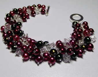 Red Cranberry Green Pearl and Crystal Bracelet, Christmas Gift, Mom Sister Grandmother Friend Jewelry Gift, ONLY ONE