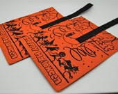2 Vintage Halloween Trick or Treat Bags - Happy Halloween - Cat - Ghost - Pumpkin - Witch - Clown - Spaceman - Owl - Collectible