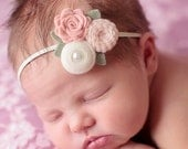 Mixed Felt Flower Bouquet in Vintage Pink and Wheat - Fall Flower Headband - Photo Prop - SBB Original