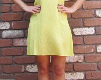 Bright Yellow Semi sheer Mini Dress 1990s