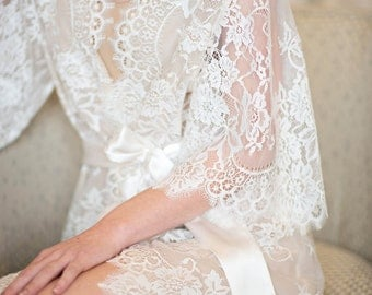 Swan Queen Lace And Nude Silk Lined Bridal Robe Kimono - style 104