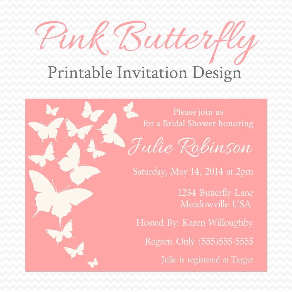Butterfly Baby Shower Invites: Pink Butterfly Baby Shower Invitation Butterfly Bridal Shower