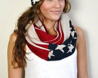 Americana Red White & Blue American US Flag Knitted Hat Beanie Pom Pom Knit Beanie, Flag Beanie Hat, Unisex hat, Knitted beanie, Pom Pom Hat