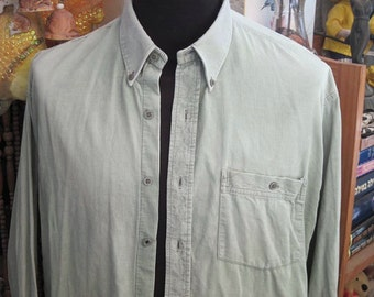 Men's CORDUROY Pastel Mint Buttons Shirt, X-Large