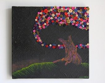 Button Tree Wall Art - Button Painting - Abstract Tree Painting