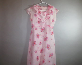 Vintage 1930's Summer Dress // Light Cotton // Cap Sleeve // Back Tie // Pink Floral // Ruffles...small