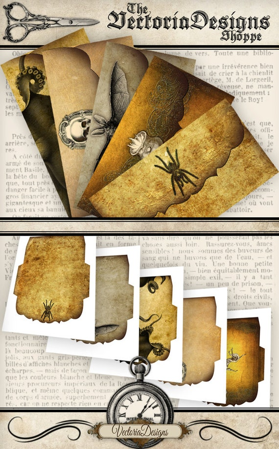 Halloween Envelopes party printable paper craft art hobby crafting scrapbooking instant download digital collage sheet - VD0171