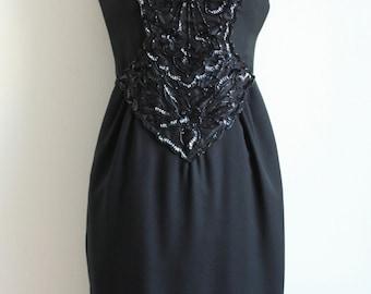 Black Sequins Spaghetti Strap Dress 1960's - S/M