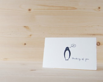 Cute Thinking of You Card - Whimsical Penguin Drawing - Thinking of You
