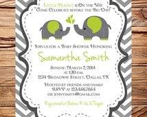 Momma and Baby Elephant Baby Shower Invitation, Baby Shower Elephant, BOY, Girl, Gray, Yellow, Purple, Pink, Blue, Green, digital, 1001