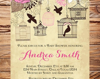 Baby Shower Invitation, Birdcages Baby Shower Invitation, Boy, Girl, Vintage Baby Shower Invite, Birds, Brown, Pink, 1062