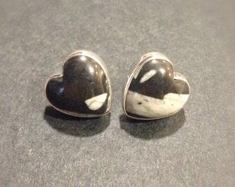 Silver Heart Earrings- Sterling Silver Heart Stud Earrings- Black and White Heart Earrings- Post Earrings- Heart Studs- Mother's Day Gift