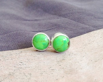Green Turquoise Stud Earrings- Green Turquoise Sterling Silver Earrings- Green Post Earrings- Green Stone Earrings- Round Stud- Unique Gift