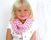 Candy Pink Chevron Girls Infinity Scarf a Soft Cotton Knit Scarf