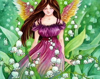 "Fantasy Art Print ""Lily of the Valley"" Angel Art Print"