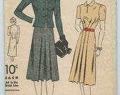 1930s DuBarry 2361B Tailored Dress with Pleated Waistline and Fitted Collarless Jacket Vintage Sewing Pattern Bust 40