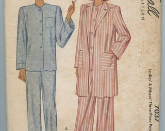 1940s McCall 7037 Misses Three-Piece Pajama Set Top Trousers Jacket Vintage Sewing Pattern Bust 34
