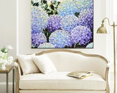 GICLEE PRINT Art Abstract Painting Hydrangea Modern Purple Lavender Blue White Flowers Canvas Prints Gift Decor LARGE sizes to 60 -Christine