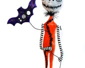 Halloween Art Doll - Spooky Art Doll - Halloween Skelly - Halloween Bat