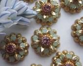 Vintage Swarovski Green Opal And Light Rose Crystal Flowers