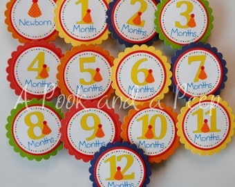 Happy Birthday Party Hat Photo Tags Banner in Red Green Yellow Blue and Orange